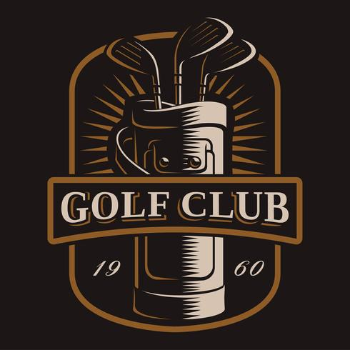 Golfclubs vectorembleem op donkere achtergrond