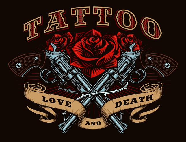 Guns and roses (color version) vector