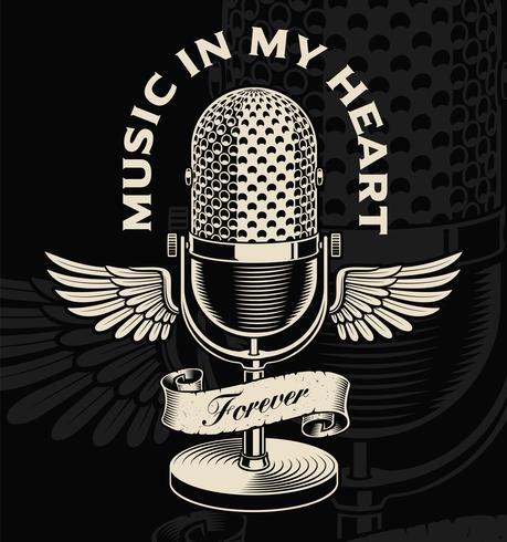 Vintage microphone with wings and ribbon in tattoo style - Download ...