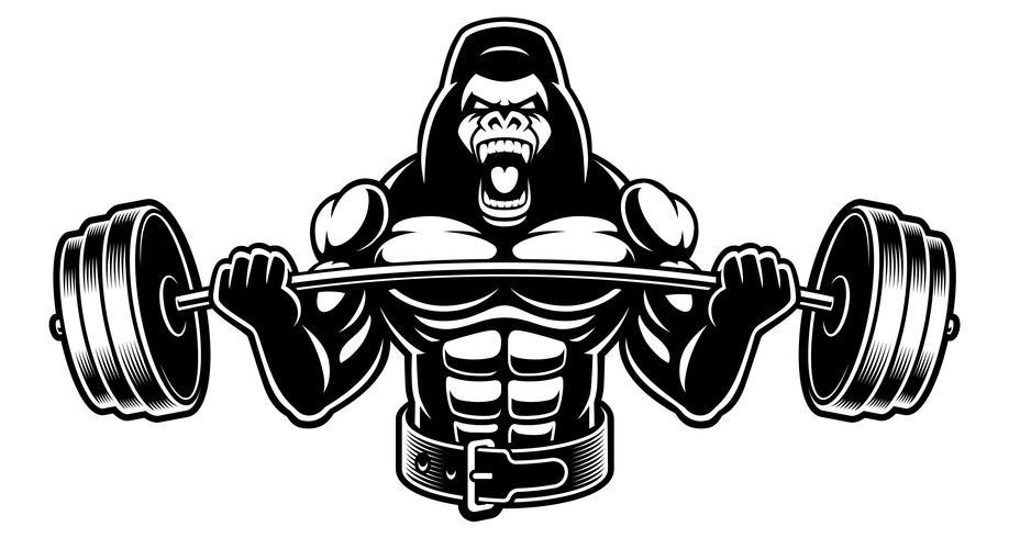 Ilustração preto e branco de um gorila com barra