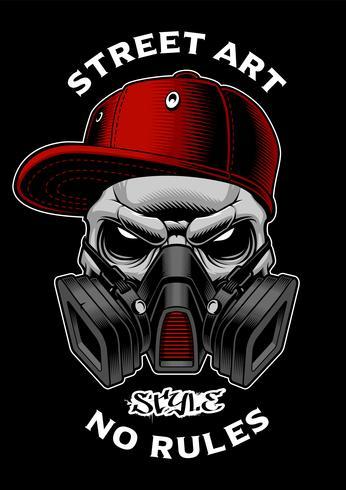 Graffiti skalle med gasmask.