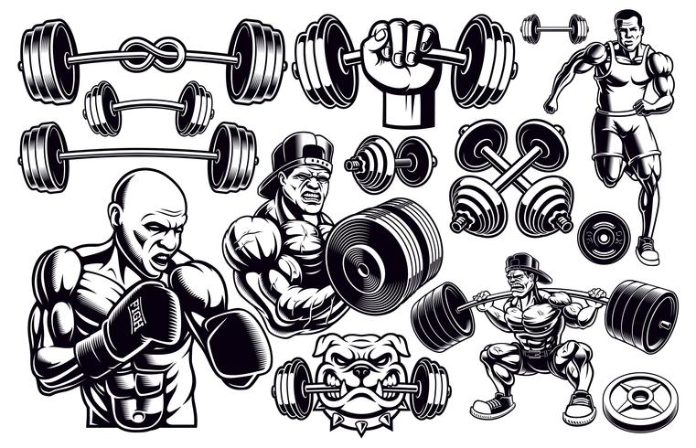 Set of black and white design elements for gym. vector