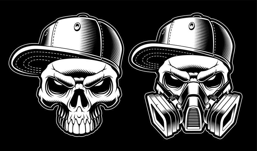 Crânios de graffiti preto e branco