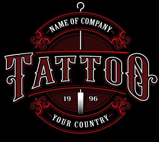Vintage tattoo studio emblem_4 (for dark background)