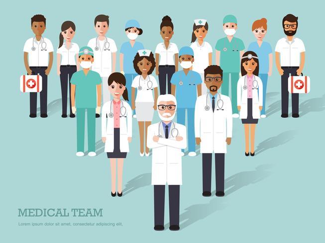 Grupo de médicos y enfermeras y personal médico. vector