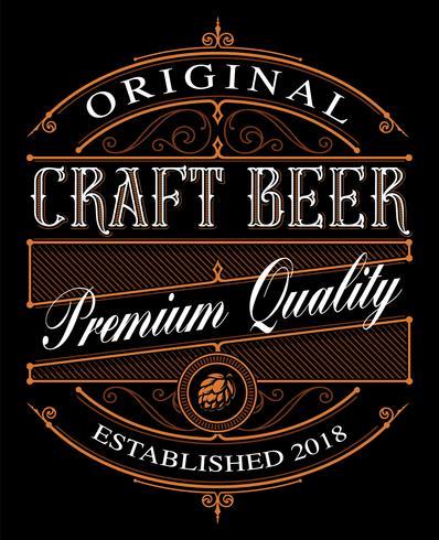 Vintage Craft Beer label on the dark background. vector