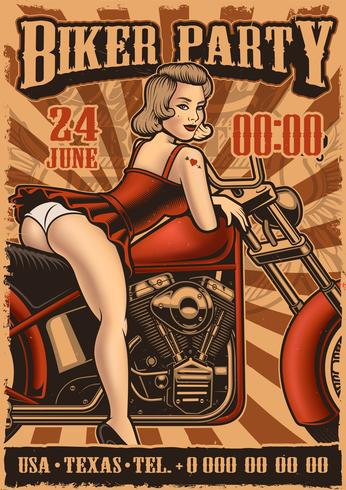 Poster vintage com pin up girl e moto