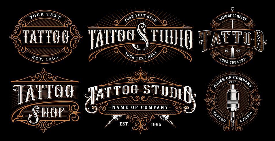 Conjunto de emblemas de tatuajes vintage (VERSIÓN PARA ANTECEDENTES OSCUROS)