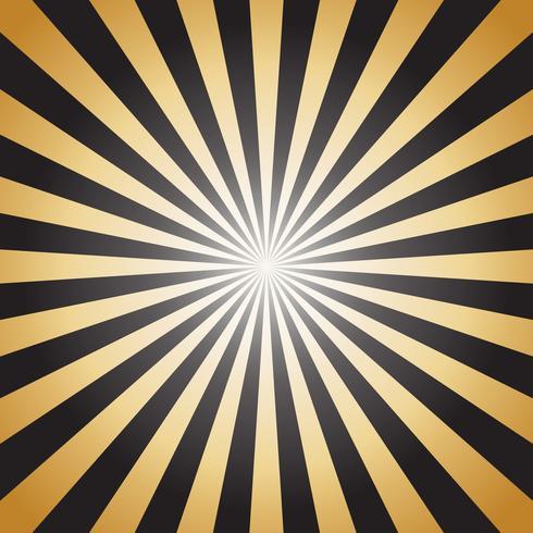 Rayos de sol abstractos rayos de oro sobre fondo oscuro - ilustración vectorial