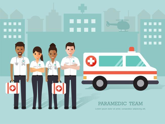 Group of paramedics and nurses, medical staff. vector
