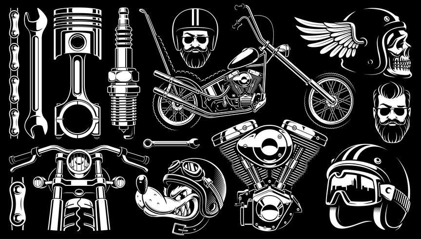 Motorcycle clipart with 14 elements on dark background.