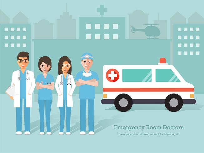 Group of Emergency room doctors and nurses, medical staff. vector