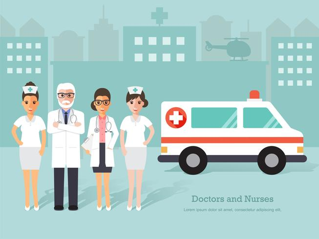 Group of doctors and nurses, medical staff. vector