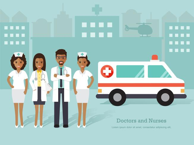 Group of African doctors and nurses, medical staff. vector
