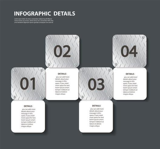 plate metal info graphic template with 4 options. Can be used for web, diagram, graph, presentation, chart, report, step by step infographics vector