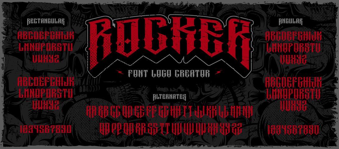 Rocker display fuente logo creador en el fondo oscuro vector