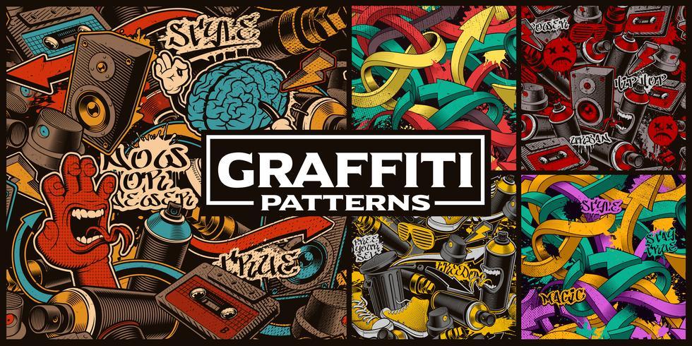 Set med sömlösa mönster med graffiti konst vektor