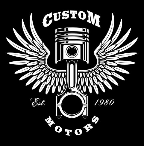 Vintage piston with wings on dark background