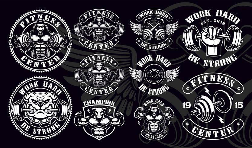 Set of vintage badges, logos, shirt designs for gym. vector