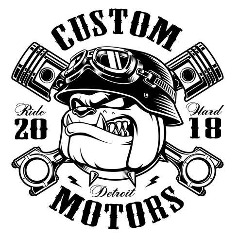 Diseño de camiseta motera Biker Bulldog (versión monocromática)