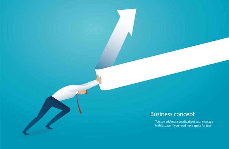 l'uomo d'affari prova a sollevare la freccia sul concetto di affari