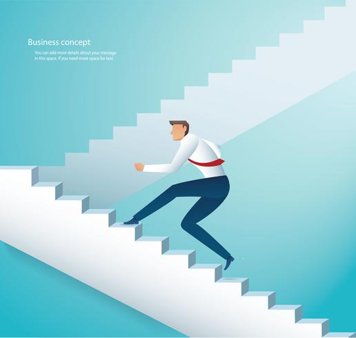 businessman climbing stairs to success