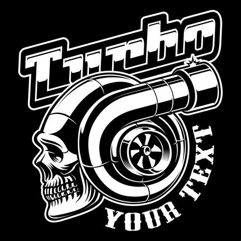 Turbocharger with skull vector
