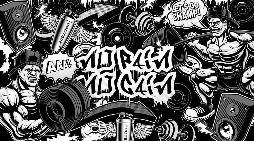 Fond noir et blanc pour la salle de sport dans le style graffiti vecteur