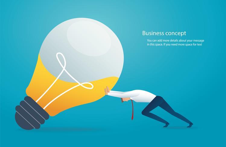 hombre de negocios que lleva la bombilla. concepto de pensamiento creativo vector