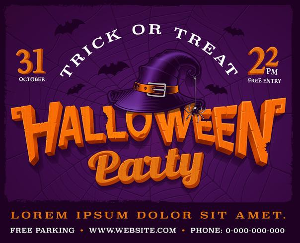 Halloween party poster with pumpkin lettering and hat of witch. vector