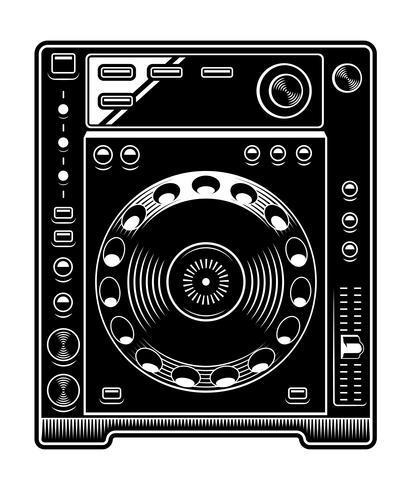 Ejemplo del reproductor de cd de DJ en el fondo blanco. vector