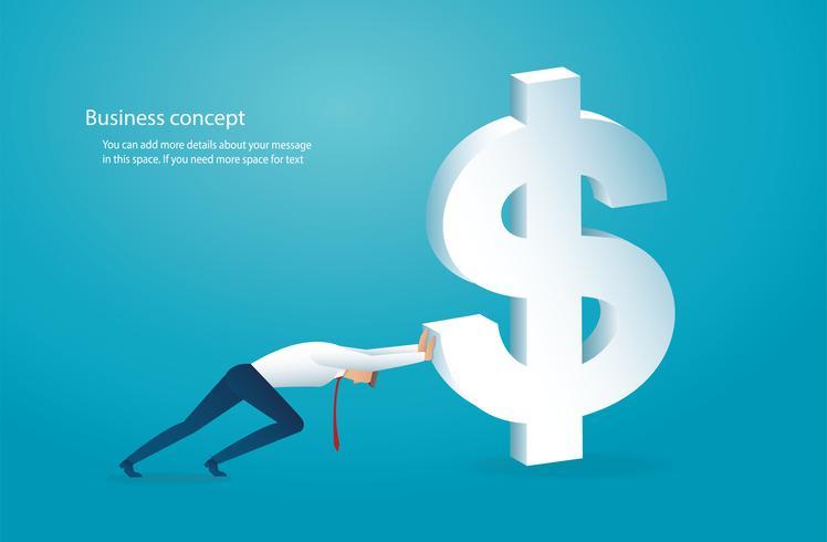 el hombre empuja el gran dolar al exito vector