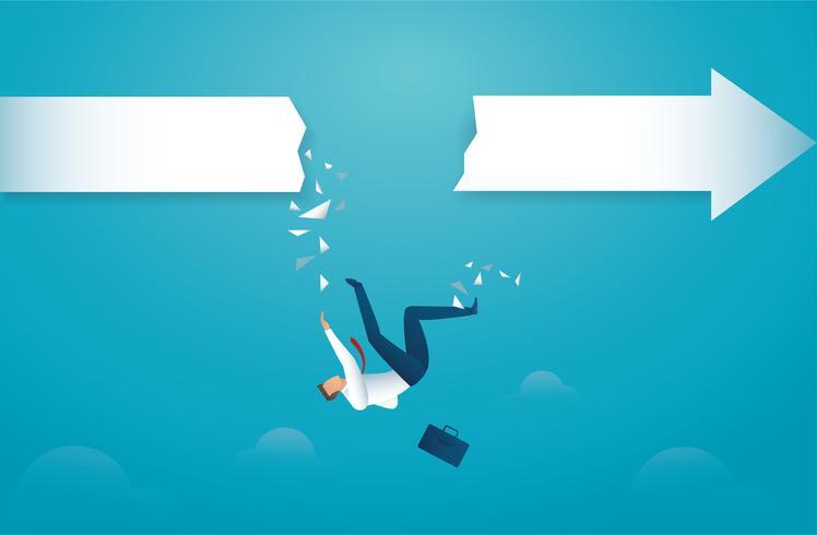 Affärsman faller från pilen. begreppet in i avgrunden kris konkurs