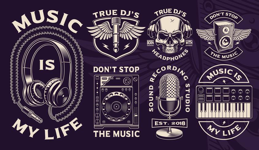 Satz Schwarzweiss-Designe von DJ-Thema.