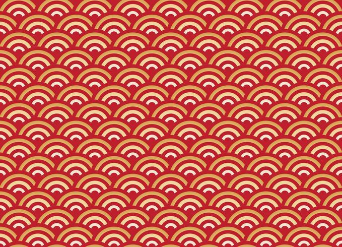 Chinesisches nahtloses Mustergold und roter Hintergrund des neuen Jahres der Welle