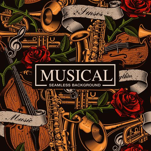 Musical seamless background in tattoo style