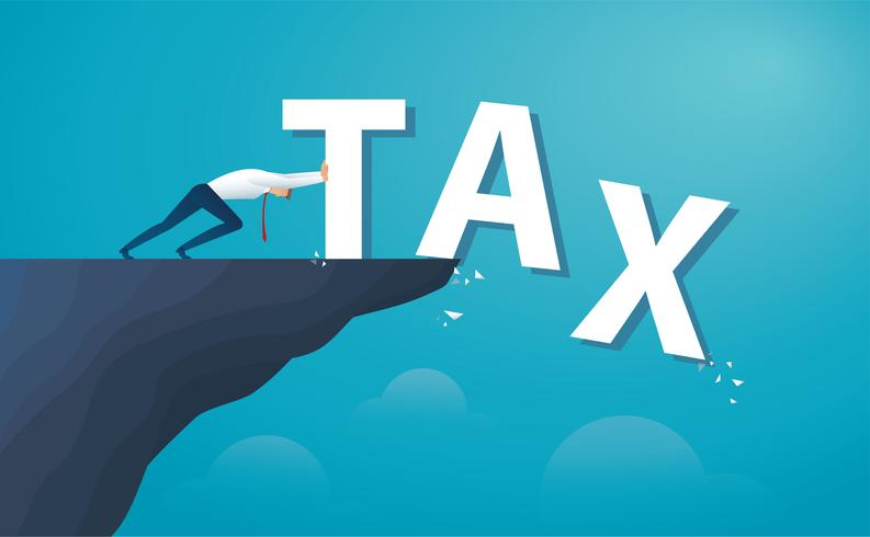 businessman push the word tax from the top of the hill.