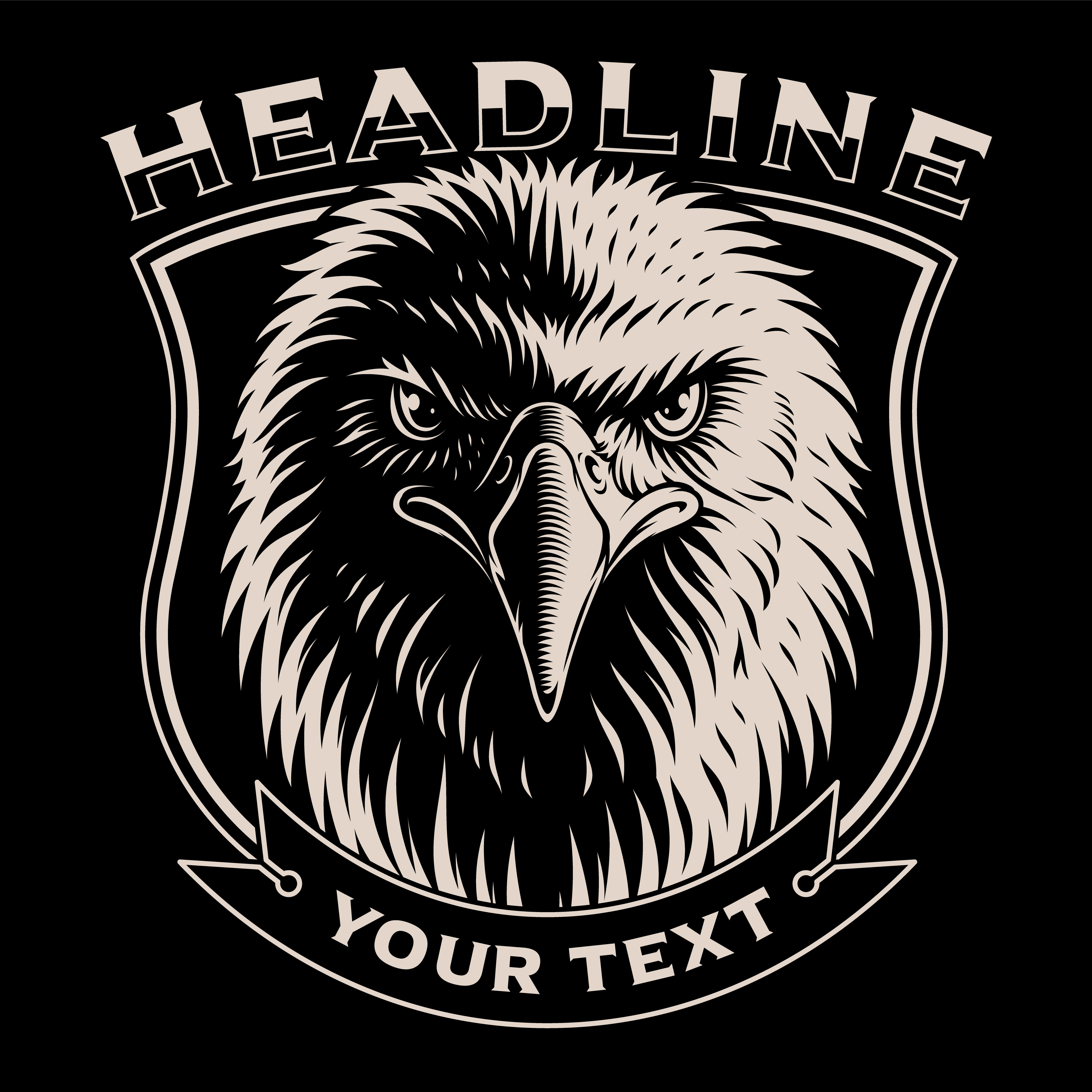 Black and white illustration of Eagle head - Download Free ...