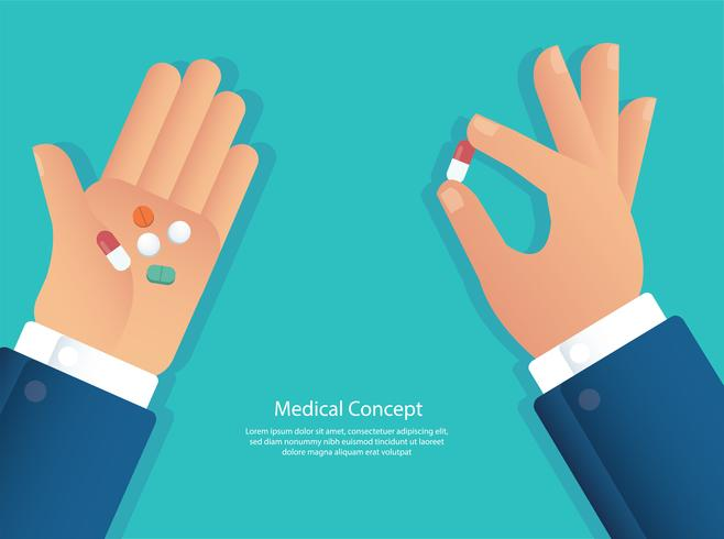 taking the pills concept of medical vector