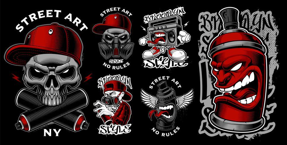Serie di illustrazioni di graffiti.