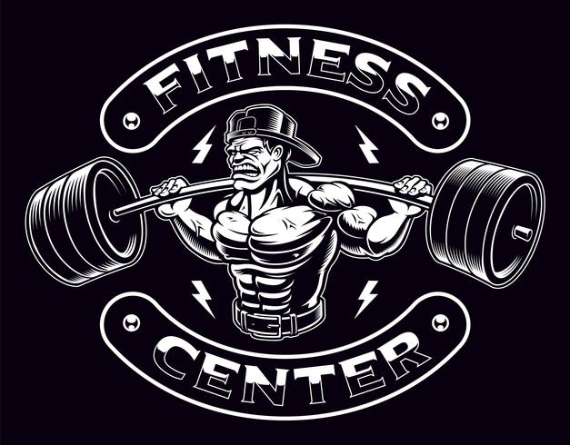 Black and white illustration of a bodybuilder with barbell vector