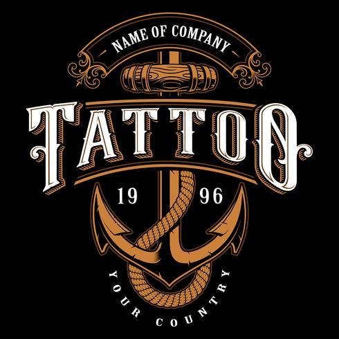 Tattoo Schriftzug Illustration mit Anker (für dunklen Hintergrund) vektor