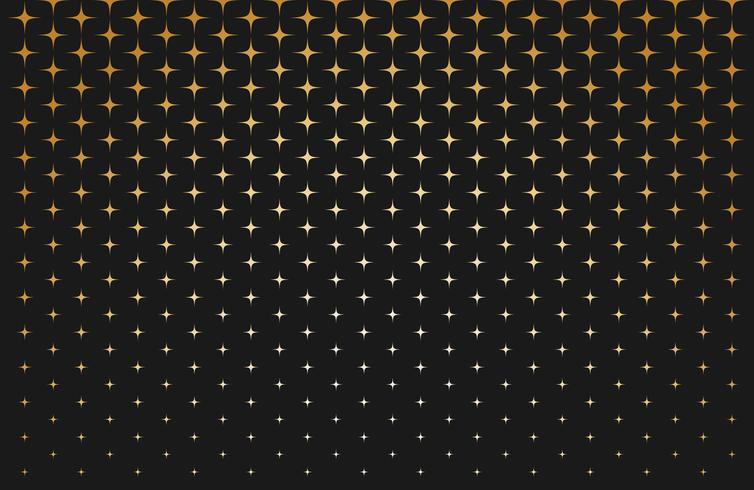 Abstrakt mått av skalat guldstjärnor på svart bakgrund - Vektor illustration