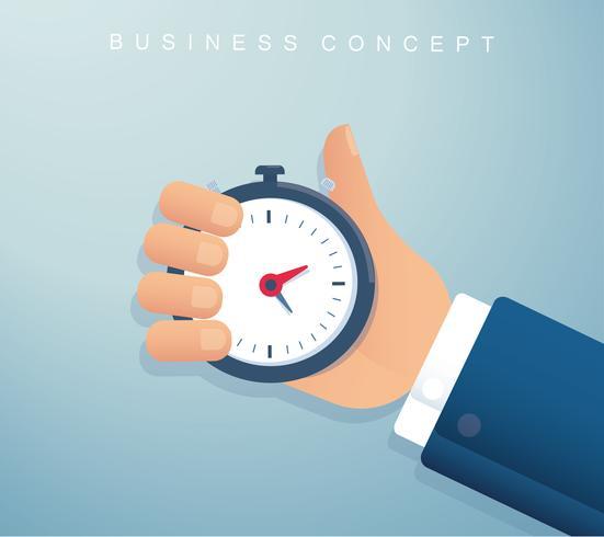 hand met een chronometer timer tijd management achtergrond. vector