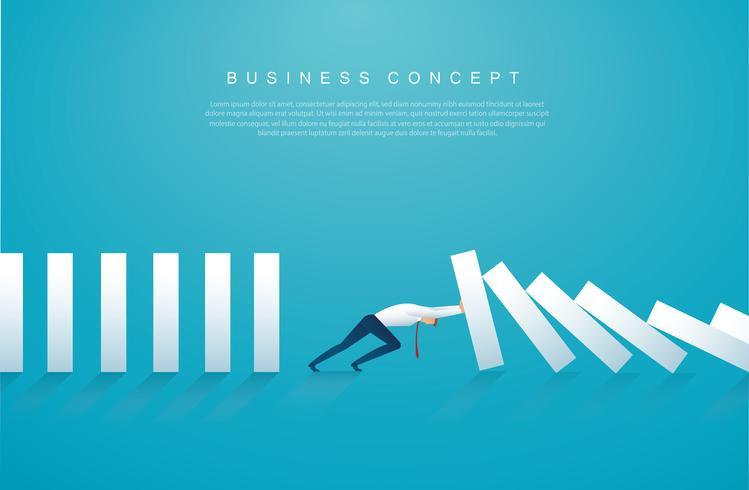 zakenman die het domino-effect stopt. bedrijfs concept