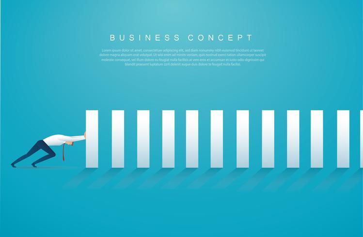 affärsman stoppar dominoeffekten. affärsidé