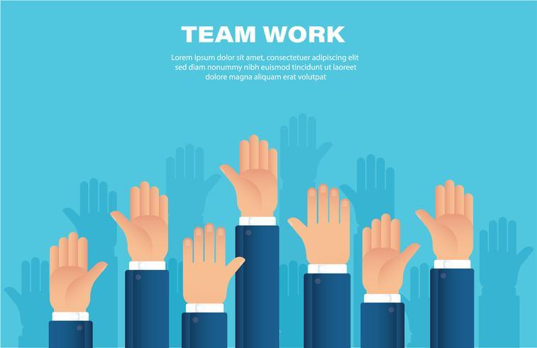 Manos levantadas. concepto de trabajo en equipo. fondo