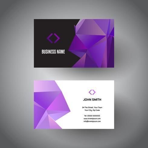 Cartão de visita com design baixo poli