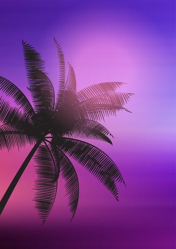 Silhueta de árvore de palma no fundo gradiente vetor