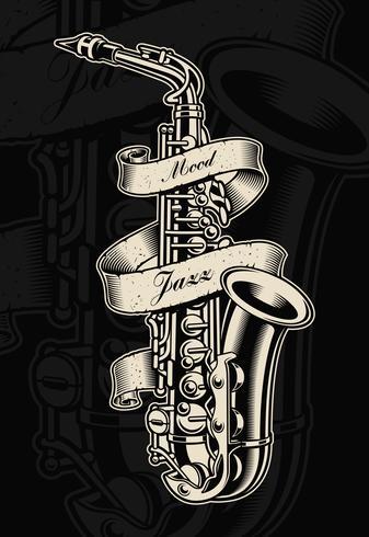 Vectorillustratie van saxofoon met vintage lint